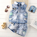 Boys Denim Suit 2017 New Boys Summer Pant and Sleeveless Shirt Set Boy's Cartoon Two-piece Denim Suit