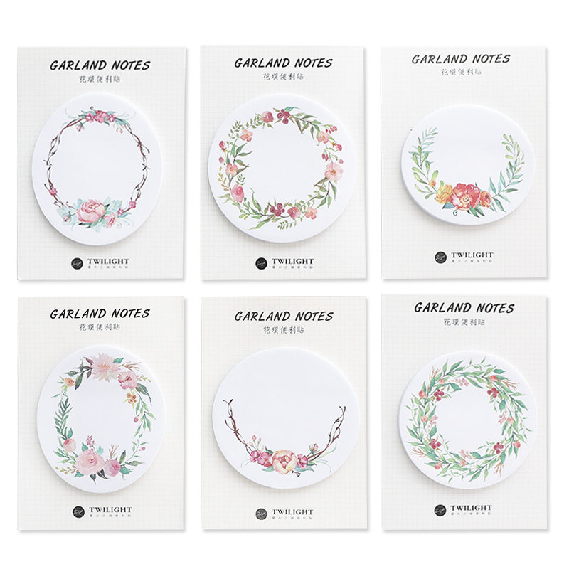 6pcs Garland Notes Flower Stick Memo Pad Post Decoration Diary Stickers Note It Tag Stationery School Supplies Christmas A6876