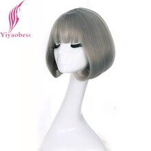 Yiyaobess Synthetische Short Bob Perücken Für Frauen Natürliche Haar Braun Schwarz Rattan Leinen Grau Perücke Mit Korean Air pony 12 zoll