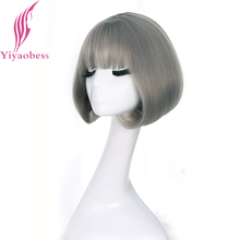 Yiyaobess syntetyczne krótkie Bob peruki dla kobiet naturalne włosy brązowy czarny Rattan pościel szary peruka z koreański Air bangs 12 cali