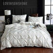LOVINSUNSHINE 布団寝具セットキルトカバーセットキングサイズ無地シルクフラワー高級寝具セット AB #4