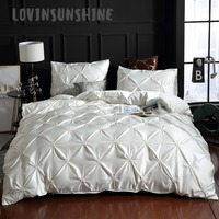 LOVINSUNSHINE Comforter Bedding Sets Quilt Cover Set King Size Solid Color Silk Flower Luxury Bedding Sets AB#4
