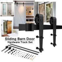 Sliding Barn Door Hardware Track Set for Barn/Solid Wood Door With Rubber Ring Arrow Type Carbon Steel Strong Bearing Capacity