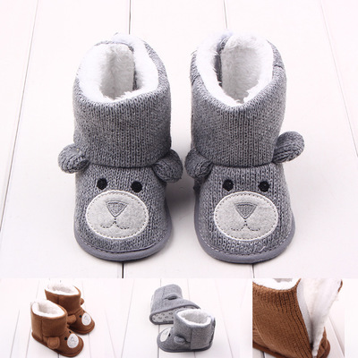 Infant Toddler Cute Cartoon Bear Boot Newborn Baby Girls Boys Super Keep Warm Winter Snowfield Booties Soft Sole Moccasins