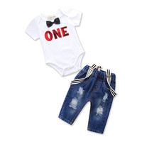 baby boy 1st birthday clothing toddler one letter romper and jeans clothes set fashion cotton print outfit