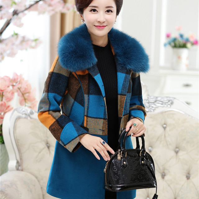 1bd9756d1eb 40-60 Years Old Mom Gift Winter Women s Fur Collar Plus Size Wool Blend Coat  Warm Long Parka Coats Jackets Outerwear Ladies