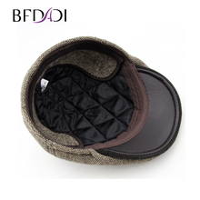BFDADI 2018 Gift Vintage Catsby Newsboy Caps Winter Golf Driving Hats Woolen Stripes Earflaps  C big size 61cm Free Shipping