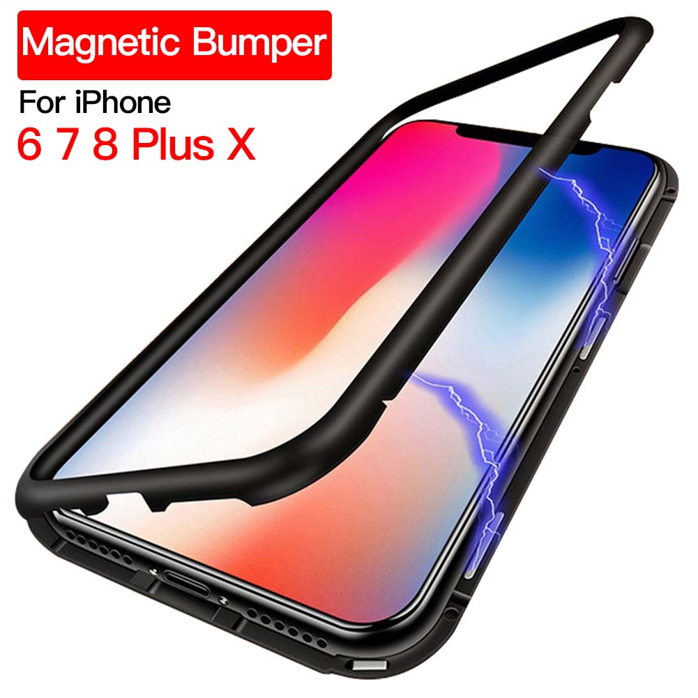 Ultra Slim Magnetic Adsorption Case for Apple iPhone X 7 8 Plus Aluminum Alloy Tempered Glass with Built-in Magnet Flip Cover