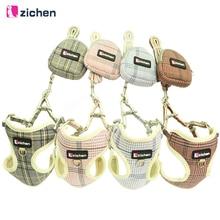 Zichen Pet Dog Harness Leash Snack bag Adjust Fiber Cotton Cloth Nickel Buckle Vest Double Reinforcement 4 Color