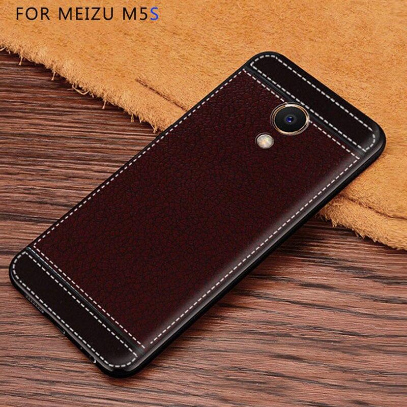Litchi mönster cortex silikonfodral för Meizu M5s lychee läder - Reservdelar och tillbehör för mobiltelefoner - Foto 2