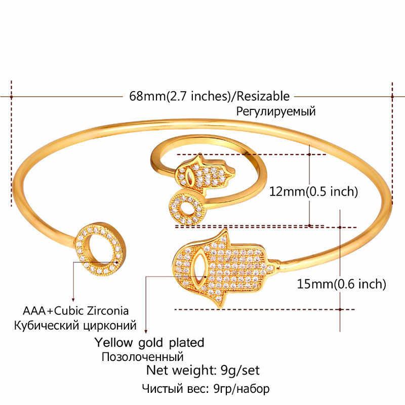 U7 H Amsaมือกำไลเปิดชุดอินเทรนด์สีทองZ Irconiaโชคดีของขวัญสำหรับผู้หญิงเครื่องประดับชุดขายส่งS775