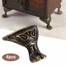 Vintage Wood Case Decorative Feet Legs Corner ProtectorAntique Brass Jewelry Gift Box 4Pcs/Pack