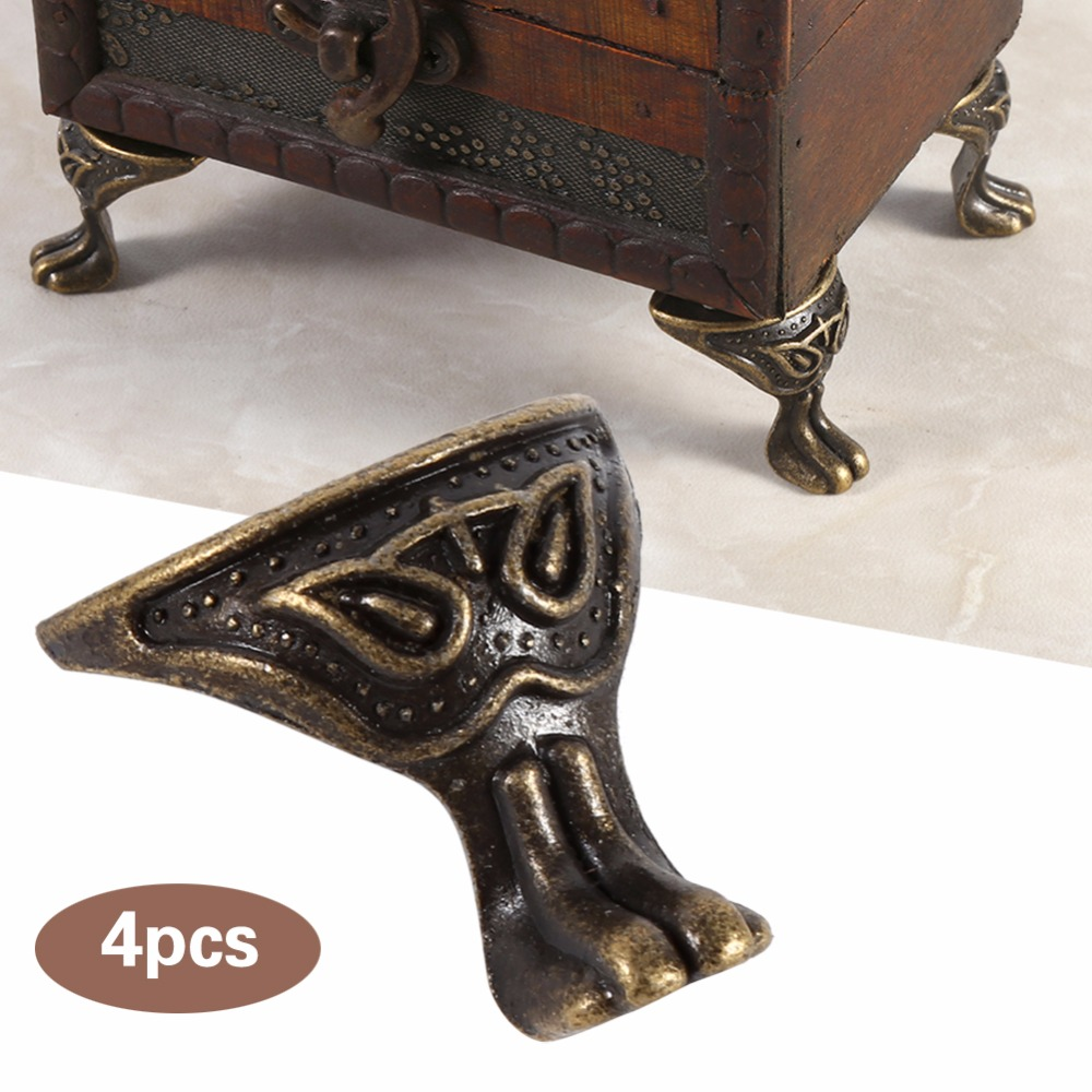 Decorative metal furniture legs - Vintage Wood Case Decorative Feet Legs Corner Protectorantique Brass Jewelry Gift Box 4pcs Pack