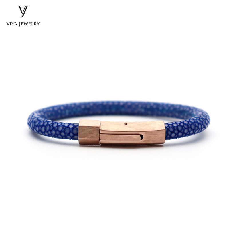 Натуральная кожа ската и высокое качество Нержавеющаясталь Пряжка Браслеты Для мужчин кожаный браслет синий ската Для мужчин браслет