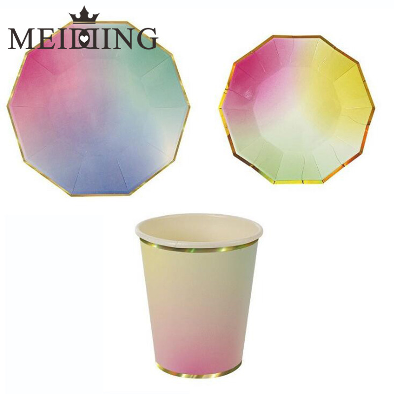 MEIDDING-Iridescent Dinner Tableware Paper Party Plates Cups for New Year Wedding Girl Birthday Mermaid/unicorn Party Tableware