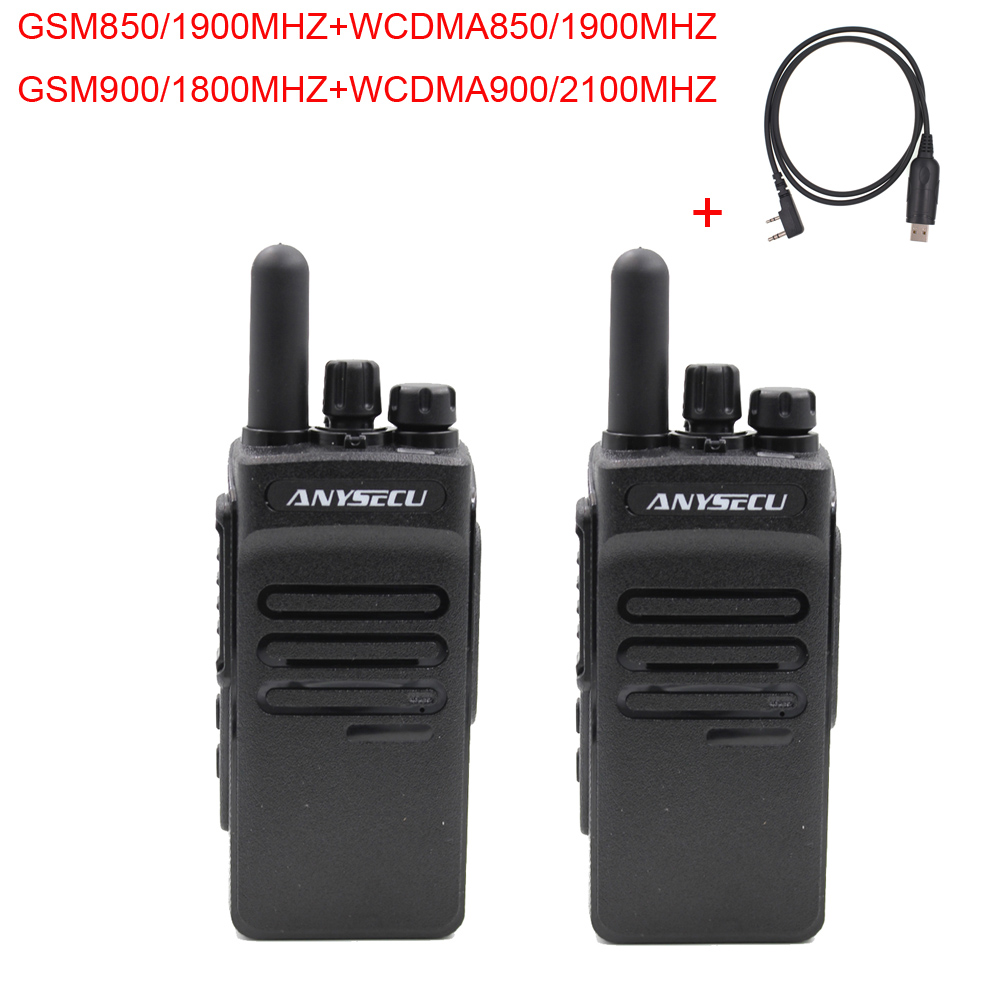 2PCS ANYSECU  3G WCDMA GSM Portable POC Network  Radio 3G-GT200 With GPS Work With REAL PTT+ Free Programming Cable