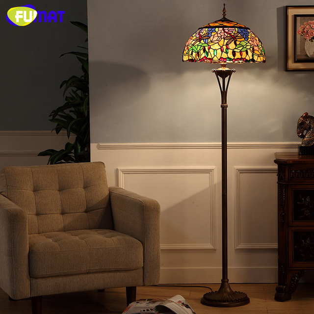 Fumat tiffany stained glass floor lamp for living room vintage fumat tiffany stained glass floor lamp for living room vintage artistic dragonfly lotus shade warm mozeypictures Gallery
