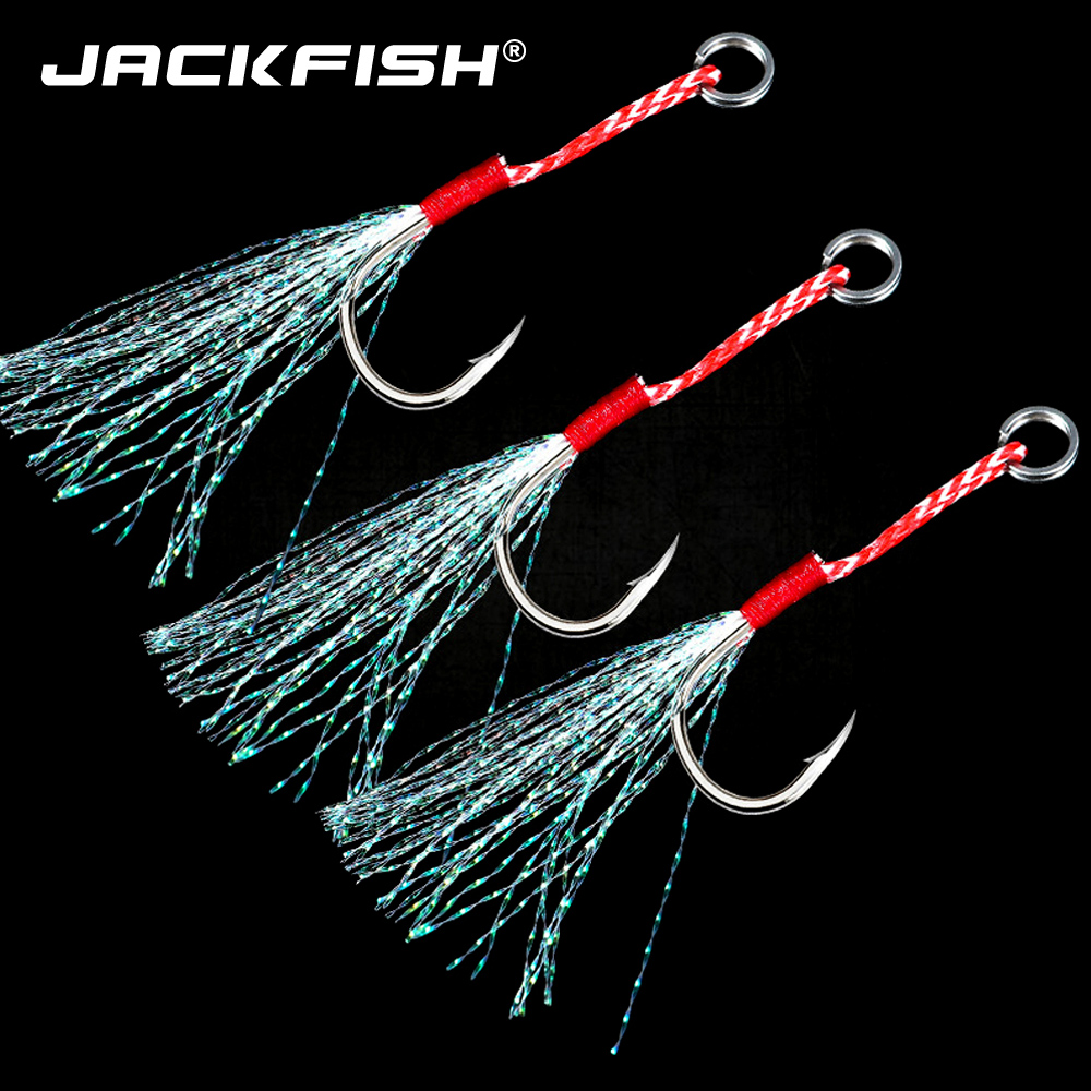 JACKFISH 10pcs/lot High Carbon Steel Fishing Hooks With Line  Feather Roped Fishhook Barbed Hooks Fishing Tackle 20KG/44Ib
