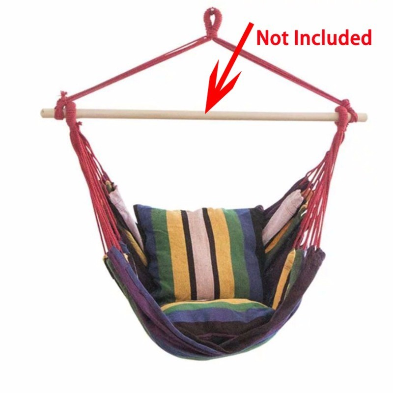 Outdoor Garden Swing Chair Striped Hammock Chair Hanging Chair Seat With 2 Pillows Adults Kids Leisure Hammock Swing ChairsOutdoor Garden Swing Chair Striped Hammock Chair Hanging Chair Seat With 2 Pillows Adults Kids Leisure Hammock Swing Chairs