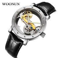 WOONUN Wodoodporne Zegarki Mechaniczne Mężczyźni Przezroczyste Skeleton Tourbillon Automatyczne Mechaniczne Zegarki Relogio Masculino
