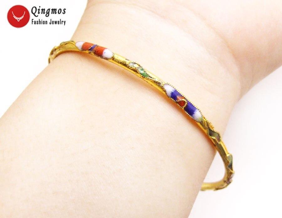 Qingmos Beautiful! Handwork China feature Gold Cloisonne enamel Bangle cuff Bracelet for Women Fine Jewelry bra214 Free shipping