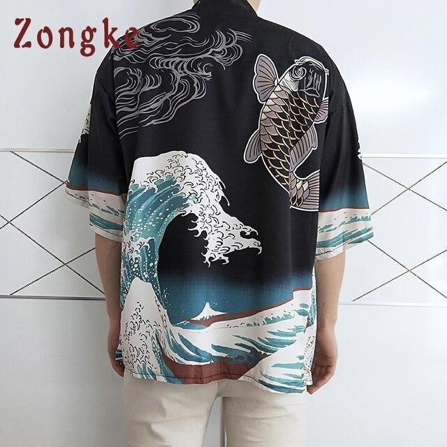 e7a7728aab0 Zongke Japanese Kimono Cardigan Men Harajuku Streetwear Kimono Cardigan Men  Carp Wave Printed Kimono Jacket Coat
