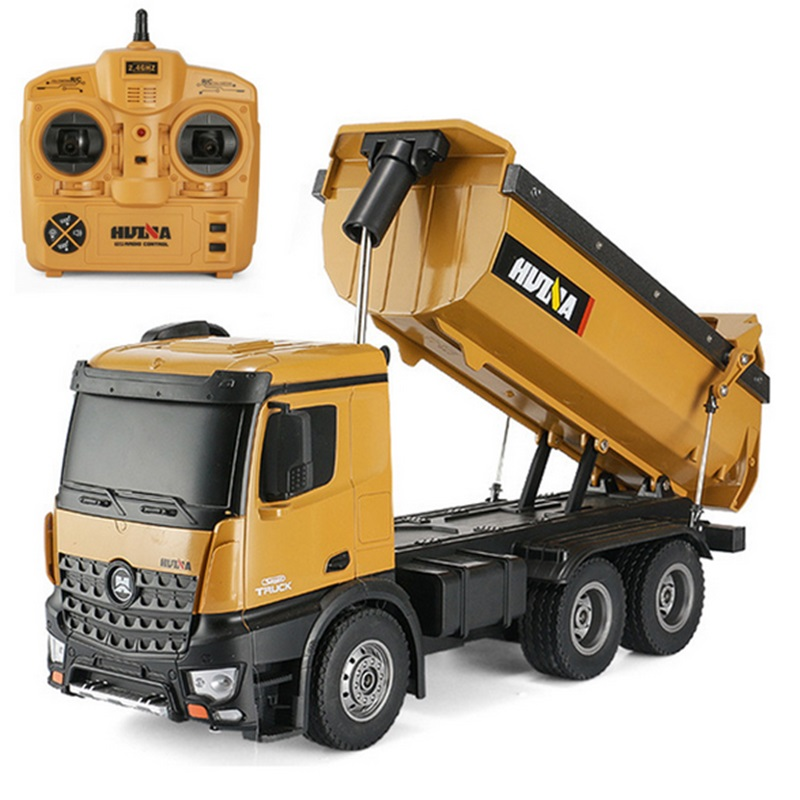 HuiNa1573 RC Car 1/14 Trucks Metal Bulldozer Charging RTR Remote Control Truck Construction Vehicle Cars For Kids Toys Gifts
