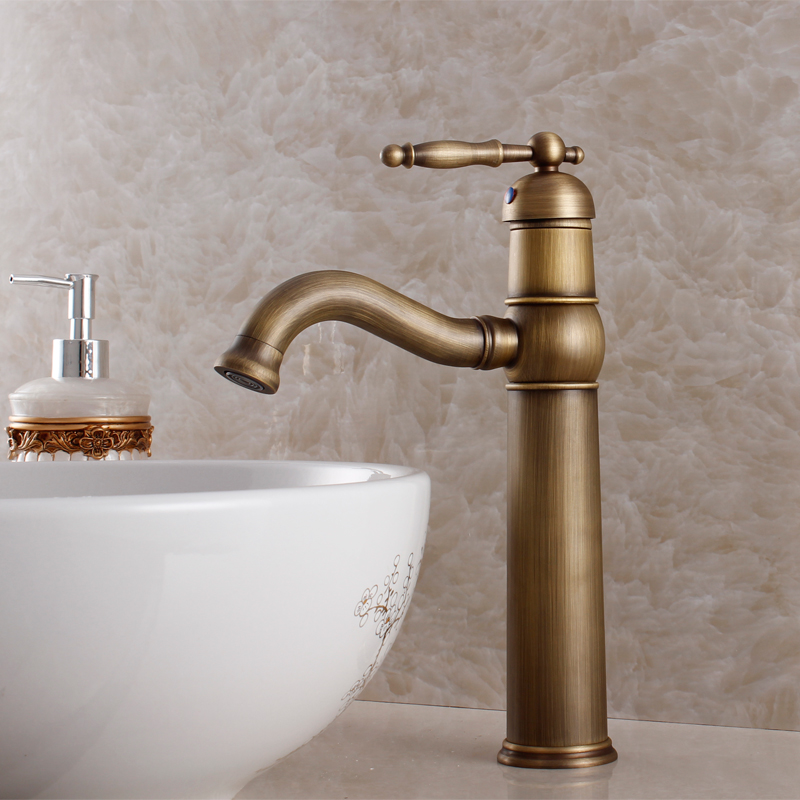 2015 Tap Tap For Bathroom Fashion Counter Basin Copper Antique Faucet Beightening Wash High Vintage Single Hole Hot And Cold copper infrared intelligent automatic induction type single tap faucet wash