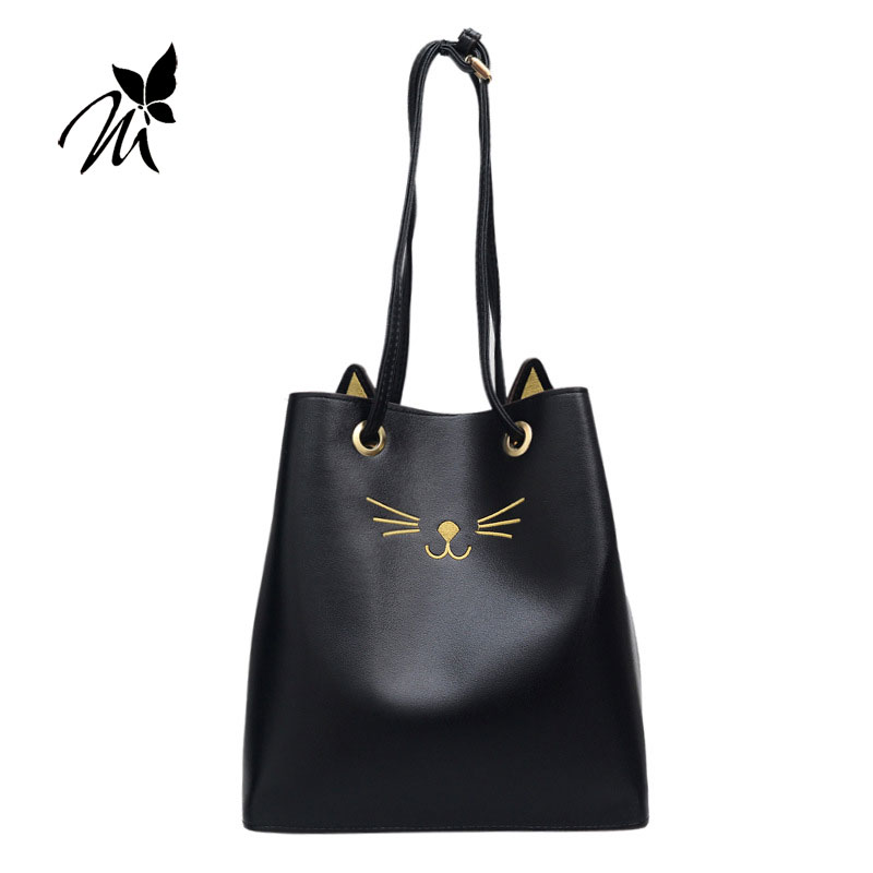 Han edition fashion cats hand the bill of lading shoulder bag bag 2017 new female bag leisure large bucket bag inclined shoulder