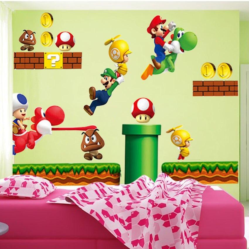 Hot New Super Mario Bros Vinyl Wandtattoos Aufkleber Kinder Kinderzimmer  Dekor inall(China (Mainland