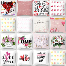 Hongbo Pink Love Flower Letter Pillow Case Polyester Home Throw Pillows Soft Decorative Cushion Cover For Sofa Chair Pillowcase