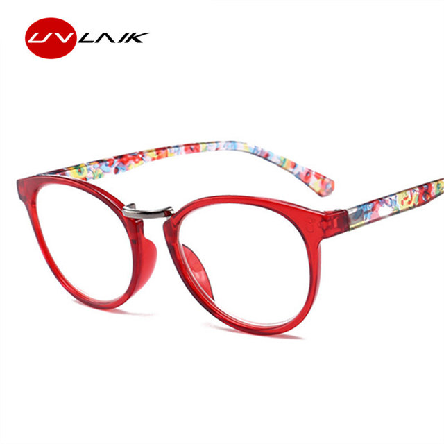 UVLAIK Printed Legs Reading Glasses Spring Hinge Rectangular Fashion Presbyopic Reading Glasses Frame 1.5 2.0 2.5 3.0 3.5 4.0