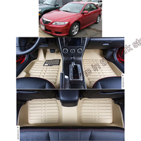 lsrtw2017 car styling accessories fiber leather car floor mats carpet rug for mazda 6 gg 2002 2003 2004 2005 2006 2007 2008