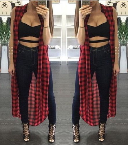 Women girls Sexy Split Blouse Plaid Sleeveless shirt Long Maxi Coat Tops Clubwear blause for summer