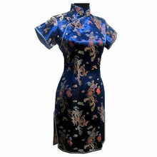 Cheongsam Qipao Dress Chinese Vintage Plus-Size Satin Navy-Blue Women's 4XL XXXL 5XL