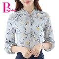 Camisa de estampado floral más el tamaño de otoño 2016 mujeres de manga larga de gasa blusa de la colmena del arco coreano clothing oficina casual de las señoras tops