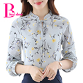 Floral Print Shirt Plus Size Autumn 2016 Women Long Sleeve Chiffon Blouse Bow Ruffle Korean Clothing Casual Ladies Office Tops