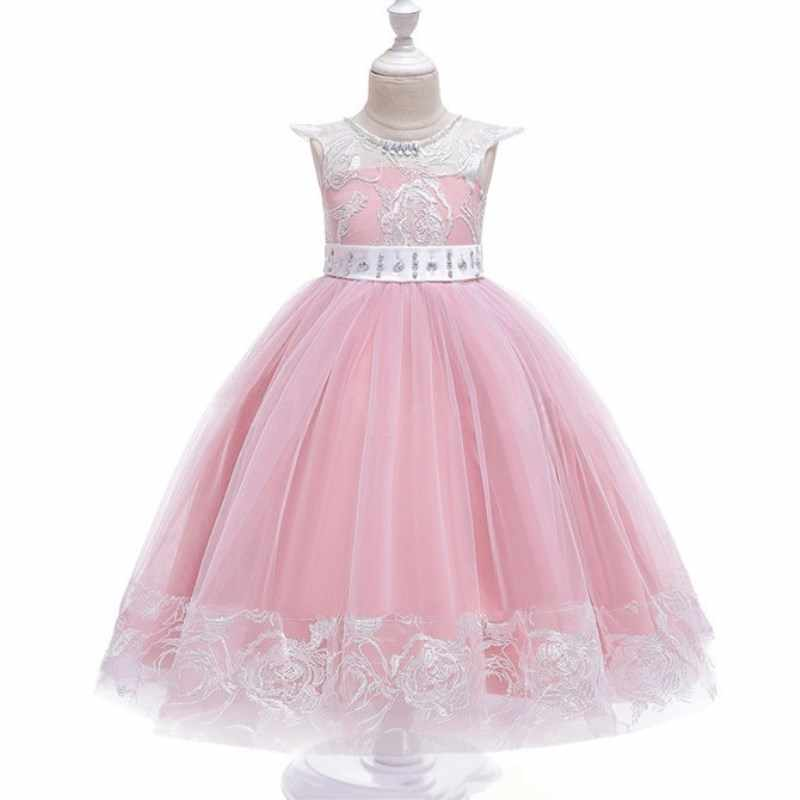 Flower Girls Children Wedding Dresses Elegent First Communion Formal Long Sleeveless Lace Princess Party Prom Dress for Girl