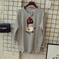2017 O Cuello de Manga Larga de Las Mujeres Búho Bordado Apliques Camiseta Estilo Preppy Floja Rayada Camiseta de Garantía de Calidad MP006