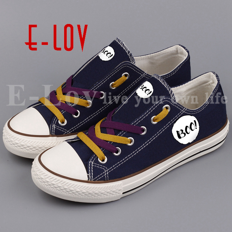 E-LOV Fashion Halloween Party Casual Shoes Printed Halloween Ghost Monster Canvas Shoe Low Top Leisure Shoes e lov women casual walking shoes graffiti aries horoscope canvas shoe low top flat oxford shoes for couples lovers