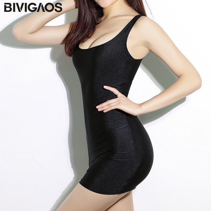 BIVIGAOS Summer Womens Black Gloss Dress Sexy Dress Super-Elastic Shiny Chinlon Мини Vest Dress Vintage Тұтқыр көйлек Әйелдер