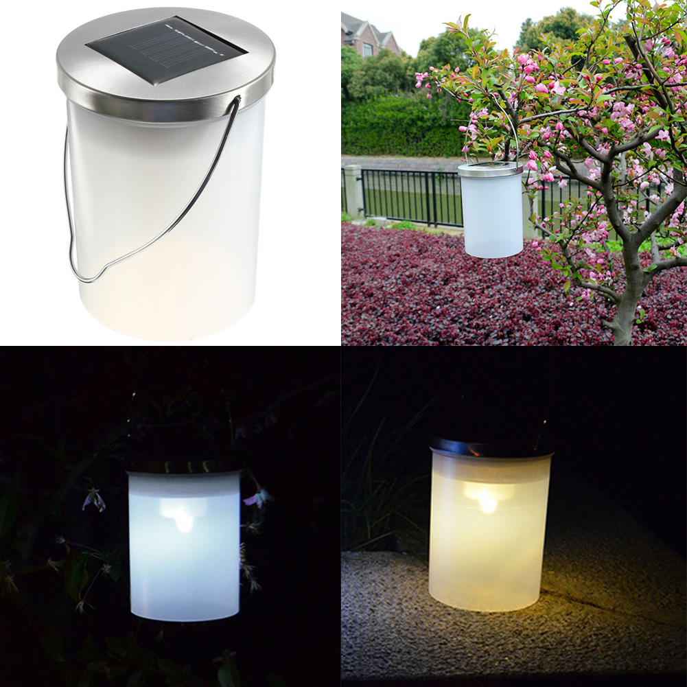 Solar patio lanterns - Ip65 Waterproof Solar Power Garden Hanging Lamp Cylinder Lanterns Led Landscape Path Outdoor Patio Holidays Decoration Light