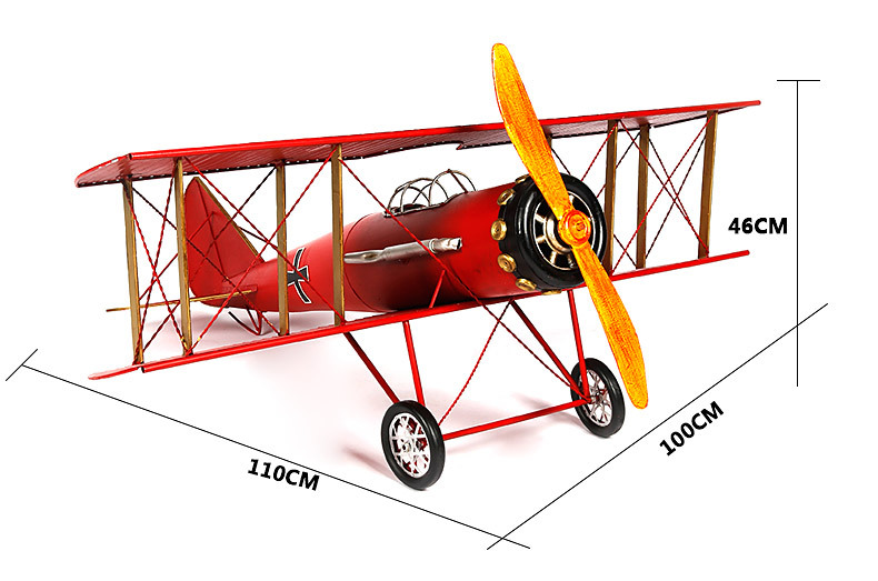 1pcs 43 inch hand made Germany Red drawing color metal fighter plane for desk deck