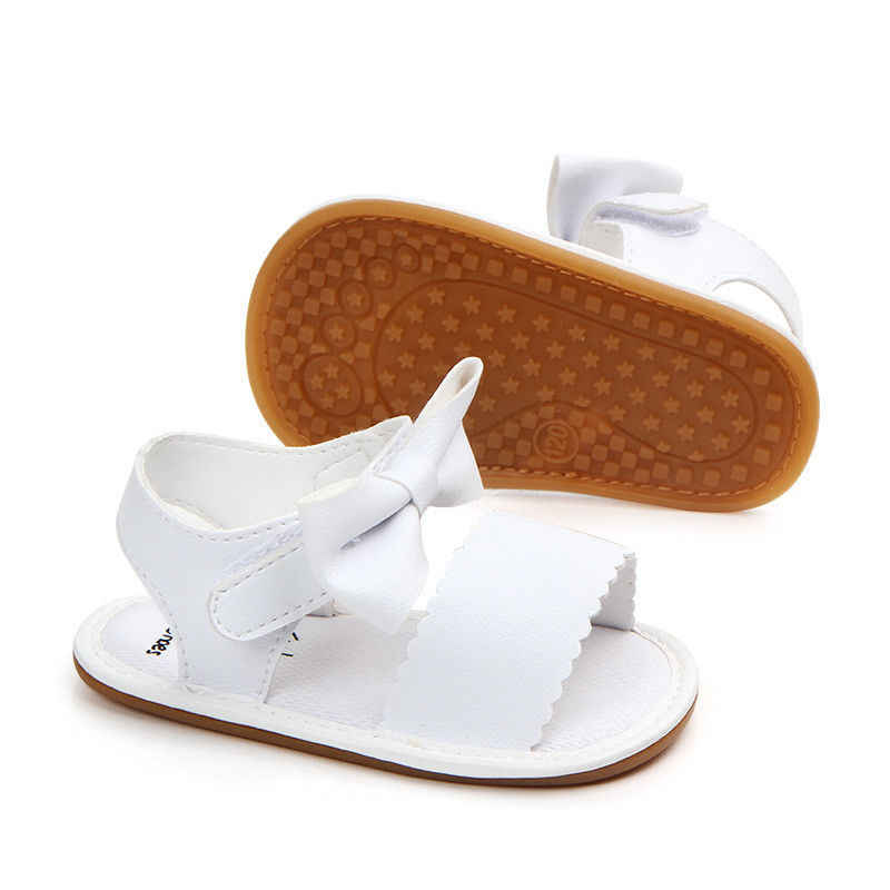 2018 г. Новая Брендовая обувь для новорожденных девочек, обувь для принцессы с бантом, летние сандалии для малышей нескользящая резиновая обувь из PU искусственной кожи, размеры от 0 до 18 месяцев