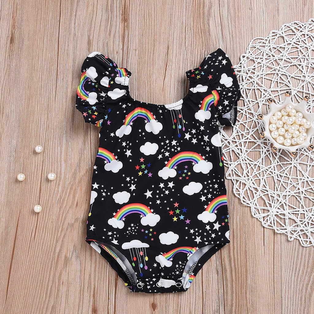 Bé Mùa Hè Ngắn Tay Áo Một Mảnh Cầu Vồng In Thỏ Jumpsuit Bodysuit Trang Phục bebek giyim roupa infantil menina #30