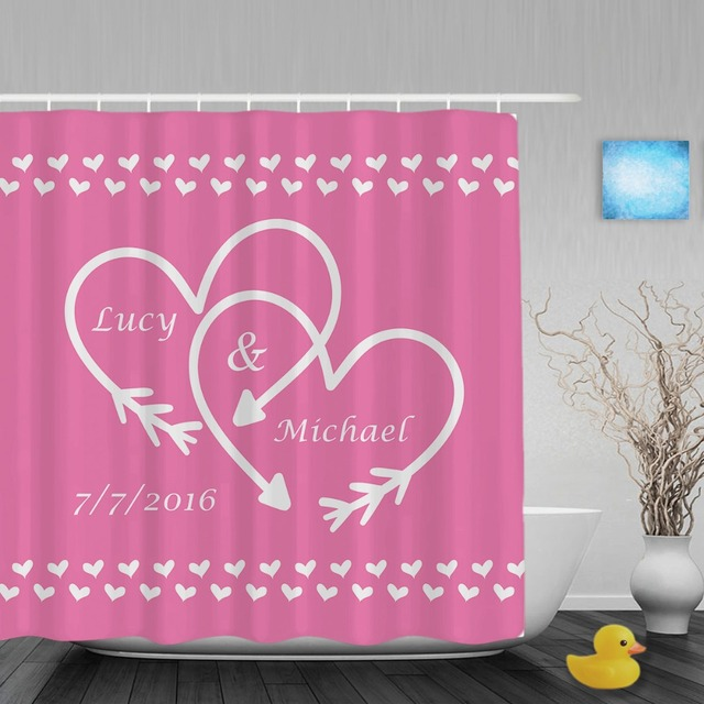 Mr And Mrs Wedding Customizable G Shower Curtain Rose Strong Pink Bathroom Curtains