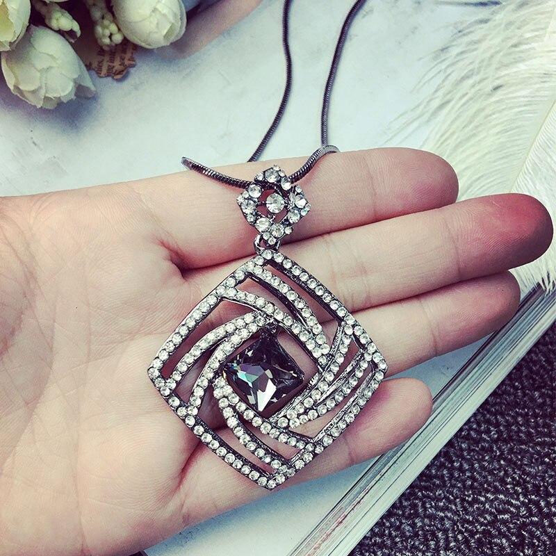 Vintage Geometrisk Krystal Lang Halskæde Kvinder Bijoux Mode Søde - Mode smykker - Foto 2