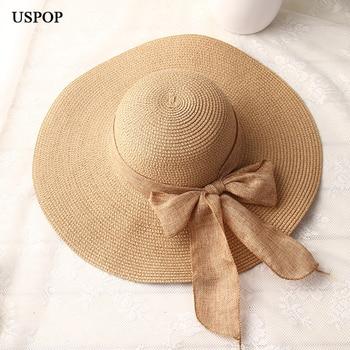 USPOP  fashion women sun hats hand made straw hat female ribbon bow-knot wide brim beach hat casual summer shade anti uv cap 1