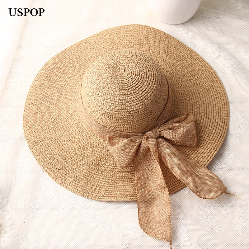 USPOP  Fashion Women Sun Hats Hand Made Straw Hat Female Ribbon Bow-knot Wide Brim Beach Hat Casual Summer Shade Anti Uv Cap