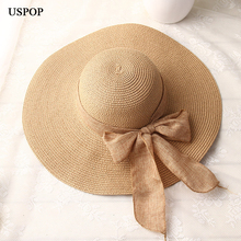 Uspop ファッション女性太陽帽子ハンドメイドわら帽子女性リボンボウノットワイドつばビーチ帽子カジュアル夏シェード抗 uv キャップ